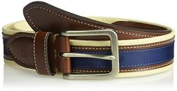 Tommy Hilfiger Men's Casual Fabric Belt, Khaki/Brown/Navy, 3
