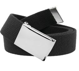 Men's Classic Silver Flip Top Military Buckle with Canvas We