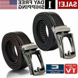 "Men's Comfort Click Lock Belt Leather Automatic Buckle 28""-4"