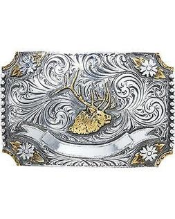 AndWest Men's Floral Elk Two-Tone Belt Buckle Two Tone