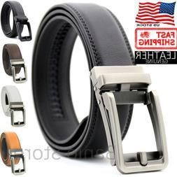 Men's Genuine Leather Belt Autonomic Ratchet Buckle Click Lo