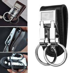 Men's Genuine Leather Belt Buckle Clip 2 Loops Keychain Key