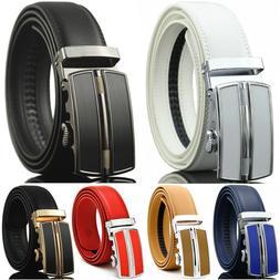 Men's Genuine Leather Dress Belt Exact Fit Automatic Buckle