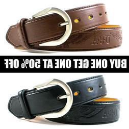 Men's Genuine Leather Metal Buckle Jean Casual Dress Belt Bl