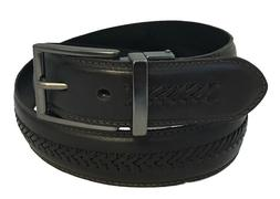 Men's Genuine Leather X-Laced Reversible Belt w/Polished Gun