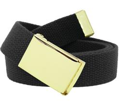 Men's Gold Brass Military Flip Top Belt Buckle with Canvas W