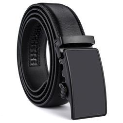 Men's Leather Belt Automatic Buckle Ratchet Waist Strap Extr