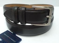 TOMMY HILFIGER Men's Leather Belt *Dark Brown w/Silver Buckl
