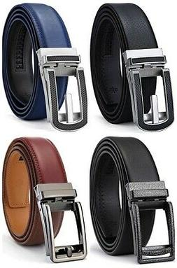Bulliant Men's Leather Ratchet Dress Belt Click Buckle Trim