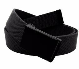 Men's Military Black Flip Top Buckle with Canvas Web Belt Hy