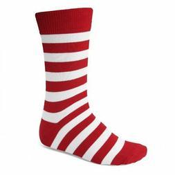 Men's Red and White Striped Socks
