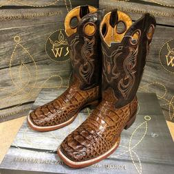 MEN'S RODEO COWBOY BOOTS ALLIGATOR PRINT WESTERN SQUARE TOE