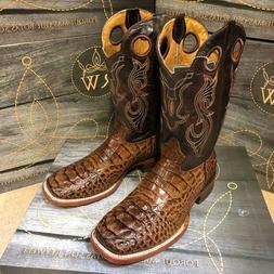 MEN'S RODEO COWBOY BOOTS ALLIGATOR PRINT WESTERN SQUARE TOE