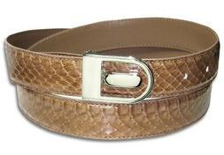 Men's Snake Skin Belt SAND BROWN Genuine SnakeSkin Bonded Le