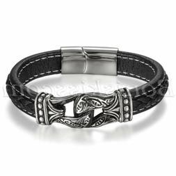 Men's Vintage Totem Stainless Steel Leather Belt Bracelet Cu