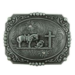 Men's Western Cross Horse Rider Belt Buckle Classic Flower L