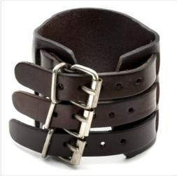 Men's Wide Alloy Leather Bracelet 3 Layer Buckle Belt Cuff W