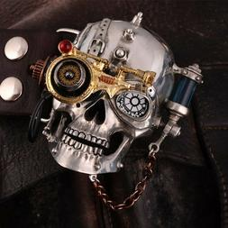 Men Skull Gothic Cowhide Leather Belt Steam Punk Buckle Tin