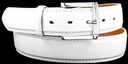 MEN WHITE LEATHER STITCHED BELT with FREE REMOVABLE BUCKLE -
