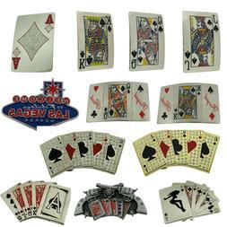Men Women Belt Buckle Royal flush poker cards casino gamble