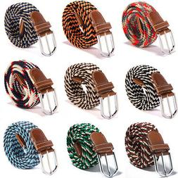 Men Women Leather Covered Buckle Woven Elastic Stretch Belt
