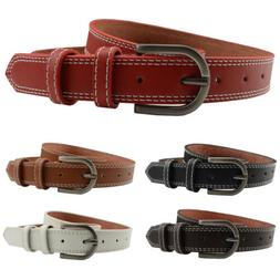 Men Women Pin Buckle Faux Leather Belt Jeans Casual Skinny W