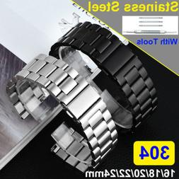 Mens 304 Stainless Steel Metal Watch Band Belt Buckle Replac