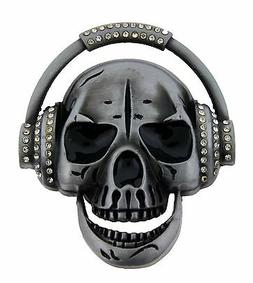 Mens Belt Buckles Skull Head Phone Some Rhinestones Music Hi
