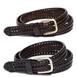 Men's Braided Leather Belt For Dress Work Or Casual Brushe