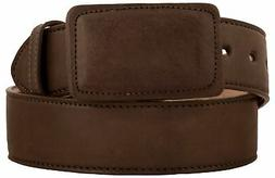Mens Brown Smooth Genuine Leather Plain Cowboy Belt Handmade