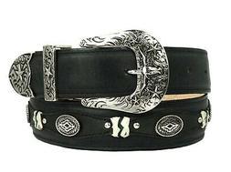Mens Concho Western Belt Genuine Leather Cowboy Silver Studs