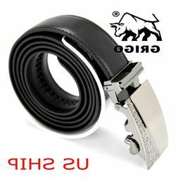 Mens Designer Leather Dress Belt Sliding Ratchet Automatic B
