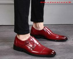 Mens Double belt buckle pointy toe Formal Business casual Dr