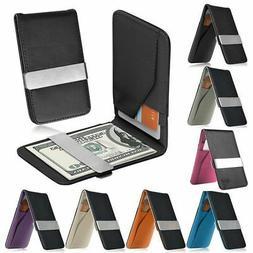 Mens Genuine Leather Silver Money Clip Slim Wallets Black ID