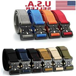 Mens Military Belt Buckle Combat Waistband Tactical Rescue T