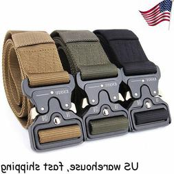 Mens Military Tactical Gun Belt Buckle Combat Waistband Adju