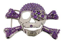 Mens Womens Skull Belt Buckles Skeleton Crossbones Rhineston