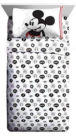 Disney Mickey Mouse Jersey White 3 Piece Twin Sheet Set