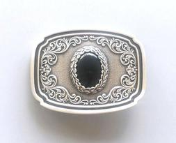 Nature Black Onyx Stone Western Cowboy Cowgirl Silver Plated
