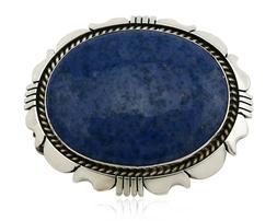 Navajo Belt Buckle .925 Silver Denim Lapis Handmade C.80's