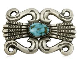 Navajo Belt Buckle Handmade .925 Silver Natural Turquoise Ar