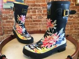 Joules Navy Blue White Floral Molly Welly Waterproof Mid Rai