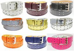 NEW Designer Womens Mens 2 Row 2 Hole Punch Leather Belt S M