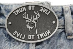 New Men Silver Black Belt Buckle Western Cowboy Live To Hunt