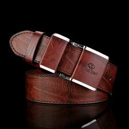 New Men's Waist Belt Leather Covered Buckle Dress Designer