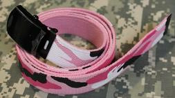 "NEW Military Canvas Camo Web Belt w/ Black Buckle 54""   PINK"