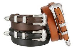 NEW Silver Buckle Set Genuine Leather Western Cowboy Ranger