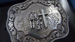 New Nocona Western Belt Buckle Cowboy Man at Cross Praying S