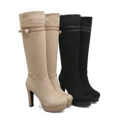 New Womens Lady Side Zip chunky heels Platform belt Buckle K