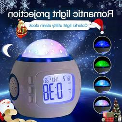 Night Light Projector Lamp Bedroom Alarm Clock With Music fo